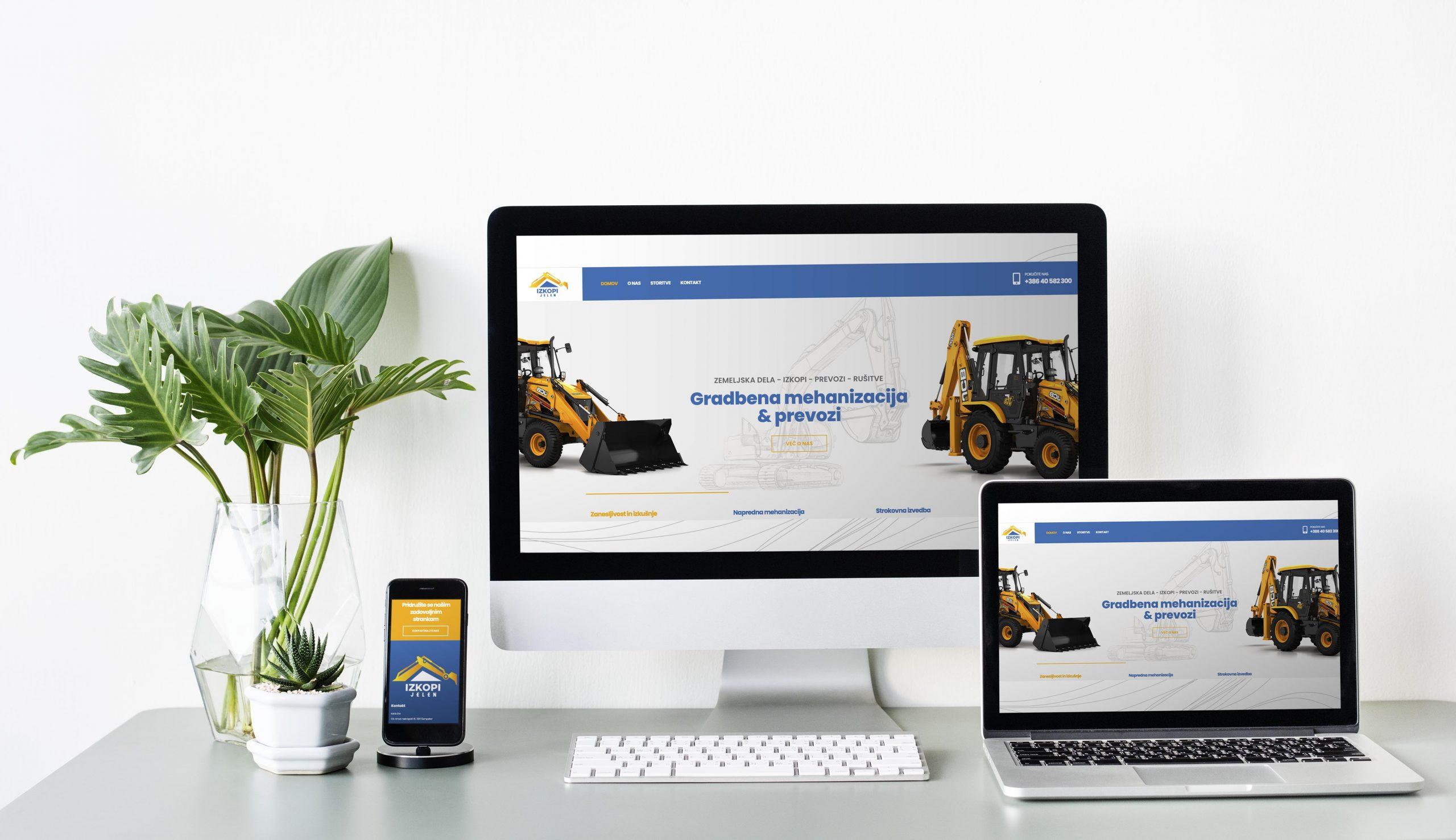Izkopi Jelen - izdelava spletne strani